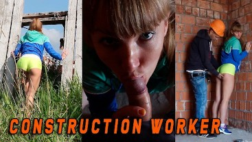 Sport girl was caught by a Construction worker when she masturbated