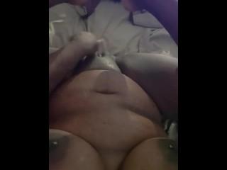Huge titty cums...