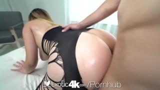 EXOTIC4K Stocking Fetish Brunette Strips Down For Big Dick