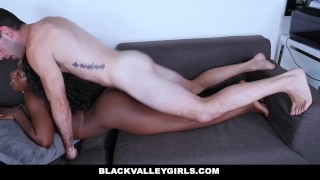 Black beauty Noemie Billas sucks and get fucked by a big white cock