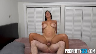 PropertySex - Spanish tourist with big tits makes BNB host cum