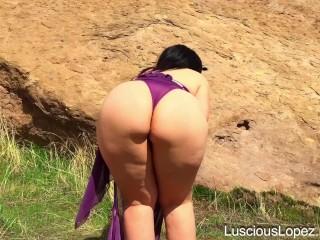 Luscious Lopez purple dress and thong