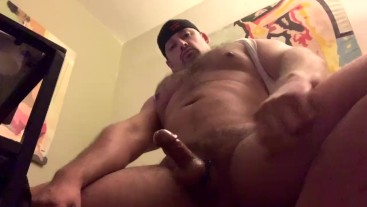 Thick Latino Muscle Daddy Pumping Sperm Shot POV
