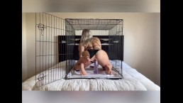 Blonde College Girl Fucks Dildo in Cage, Huge Cock Won't Fit in Tight Cunt!