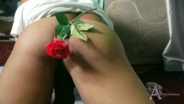sexy ass teasing and cumming on a rose
