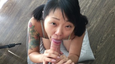 Asian beauty pleasures a BWC and swallows a big load POV