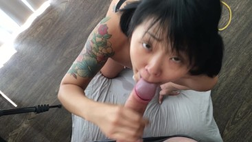 Asian beauty pleasures a BWC and swallows a big load POV FULL