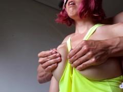 Oiled lactating tits massage
