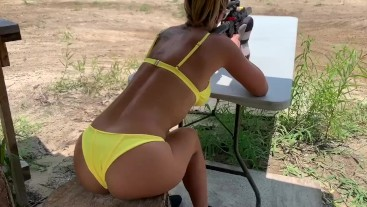 Fit Girl Slut Shoots Guns And Blows A Load On Her Face- Mandy FoXXX