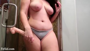 Big Tit BBW Fucks Herself in Bathroom with Dildo