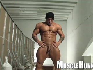 Muscle worship session monster bodybuilder beefy butt...