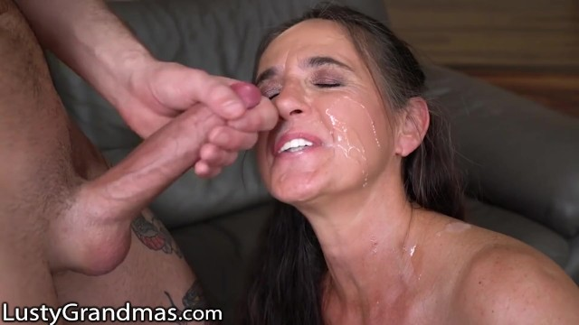Tlusty nude - Lustygrandmas gilf gets facial from young studs cock