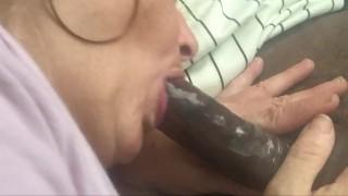 White Milf licks up cum from a Big Black Dick