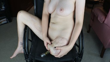 Amputee Ash - Massaging Naked Stump in Wheelchair