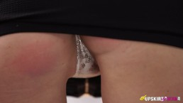 Redhead Office Worker Has Client Perving Up Her Skirt And Doesn't Notice