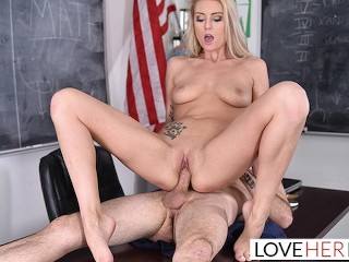 LoveHerFeet - Cute Blonde Teen Schoolgirl Has a Lesson In Foot Sex (16 Aug 2019)