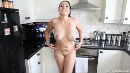 Brunette Babe Doing Sexy Dance And Striptease For Her Boyfriend In Kitchen