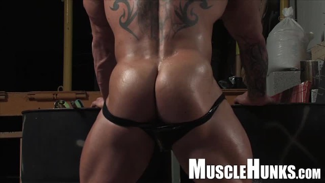 Fetish gay leather man Huge german bodybuilder in leather with big dick