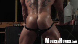 Huge German bodybuilder in leather with big dick