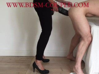 Miss M. pegs her slave DEEP with a HUGE STRAPON