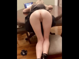 Petite Blonde browsing Tumblr gets bent over the table and creampied (18 Aug 2019)