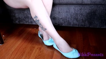Shoe Play Dipping with Teal Flats