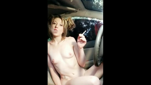 Sexy brown pigtail naked Ditching school to play with you- smoking naked in moms car- blonde pigtail
