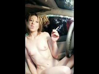 Ditching school to play with you- smoking naked in moms car- blonde pigtail