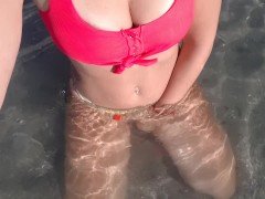 Wet body in sea Naked boobs and pussy touch in water