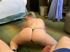 Emmy Demure Gives A Striptease & Lap Dance before Sucking her fan - Clip