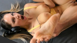 Step Brother Fucks his Busty Step Sister While She Listens to Music