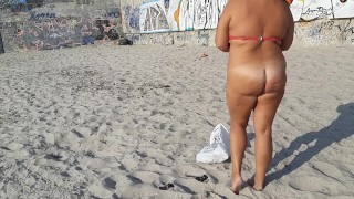 Full naked. Undress on beach and change clothers