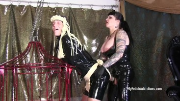 Rubber Slut Gets Electrified & Fucked