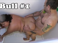 Hubby And 2 Bulls Smash Bbw Wife In Shower