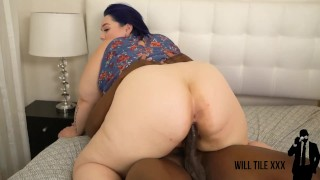 bBW slut fucks big dick personal trainer after having a cheat day