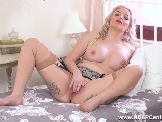 Tattooed big tits blonde masturbates to climax in vintage nylons and garter