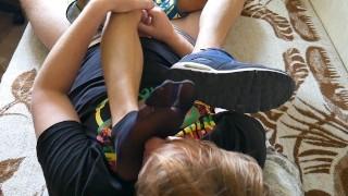 Thin, black nylon socks footjob and feet worship