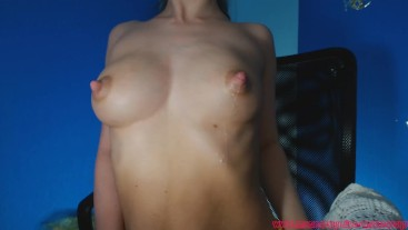 Pumping my tits and they autodrip milk.