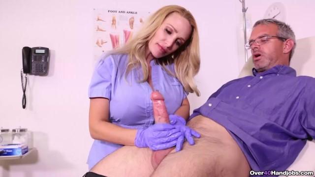 Busty woman over 40 - Busty nurse milks her patient - over 40 handjob