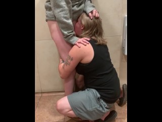 Pinky&Angel- Sneaky Pussy Eating in Public Restroom Almost Caught! (25 Aug 2019)