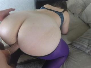Purple pantyhose through panties...
