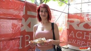 GERMAN SCOUT - Rothaarige Studentin aus Berlin für Geld bei Casting gefickt