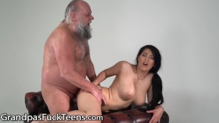 GrandpasFuck Old Guy Barely Pulls Out of Busty in Time