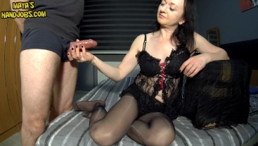 edging and 2 cumshots on black nylons