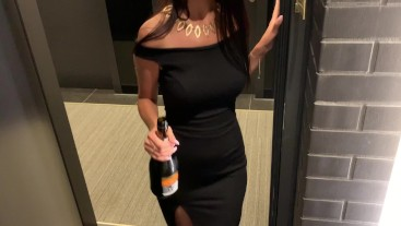 chic gorgeous girl came to visit her neighbor with champagne in the hotel