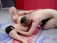 Busty Alura TNT Jenson mixed wrestling fight vs Chad sucking a cock