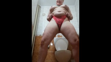 Pissing in my swimsuit in bathrom after beach and naked