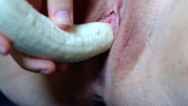 Bizarre vaginal insertion - Really hot inserting, cumming and birthing banana close up 4k