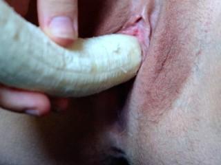 REALLY HOT Inserting, Cumming And Birthing Banana Close Up 4K ❤︎