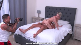 bts of hot blonde Bella Rose fucking Chad and receiving a big facial